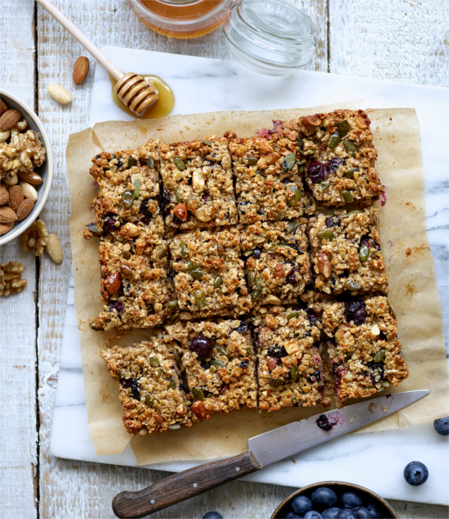 Blueberry and banana flapjack