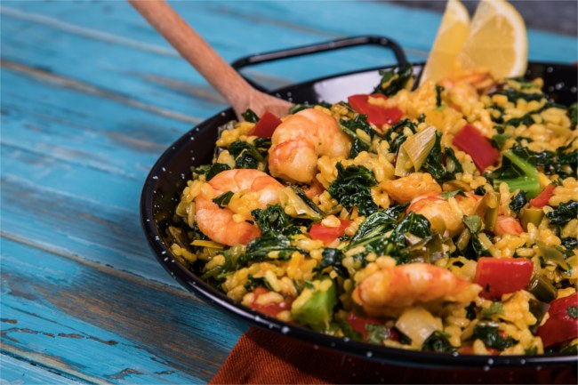 prawn and kale paella