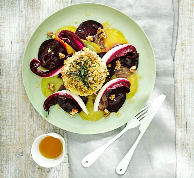 Walnuts and rosemary crusted goats cheese with beetroot carpaccio