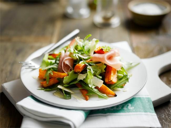 Chantenay, prosciutto and rocket salad
