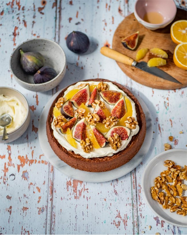 Great British Bake Off winner Edd Kimber goes nutty with this delicious recipe for California Walnut and Fig Cake.