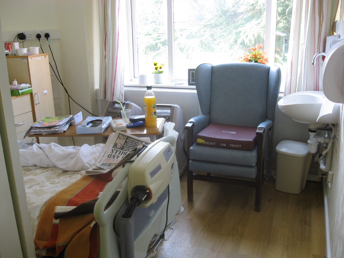 A cramped single bedroom in Marie Curie's old West Midlands hospice.
