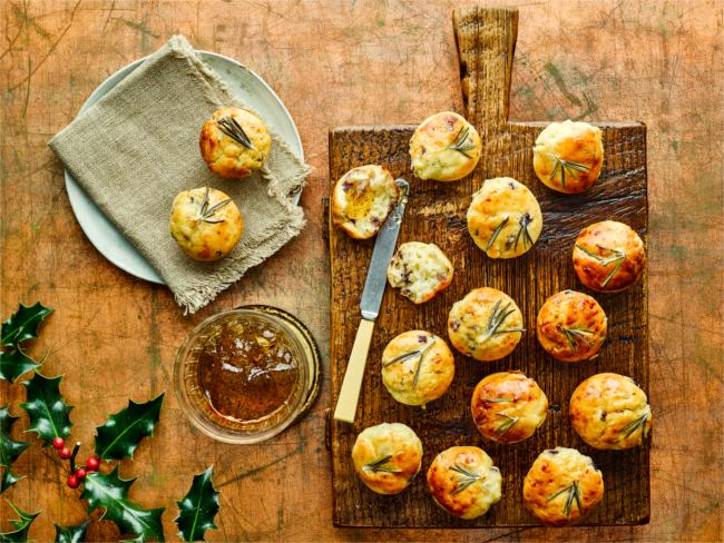 Goats' cheese and zingy rosemary jelly muffins