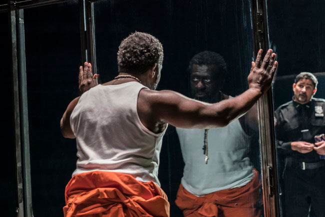 Oberon K.A. Adjepong and Joplin Sibtain in Jesus Hopped The A Train at the Young Vic. Photo by Johan Persson.
