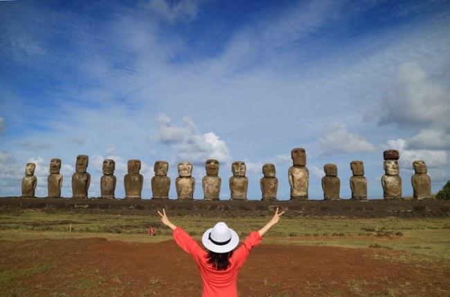 Moai statues of Ahu Tongariki on Easter Island, Chile