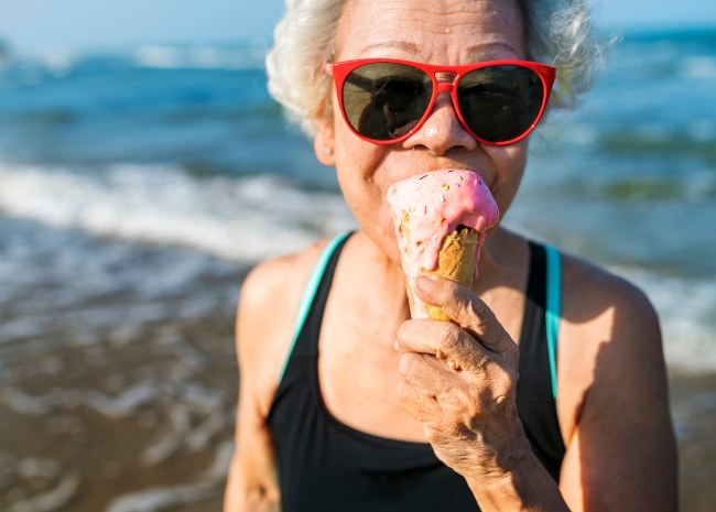 older woman eating ice cream