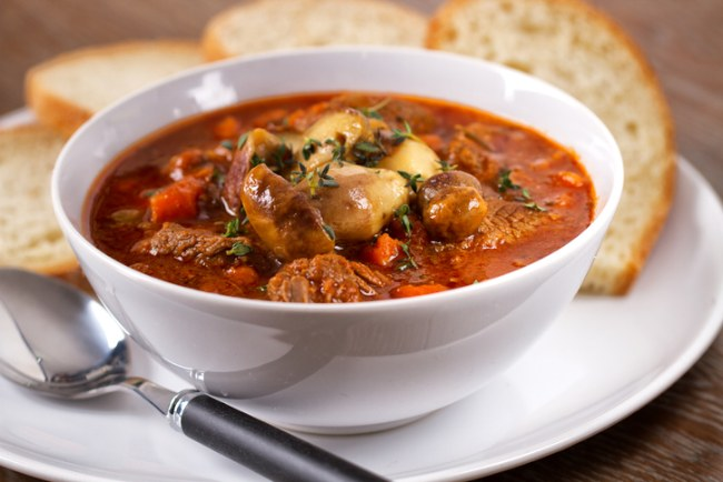 Hot stew and mushrooms