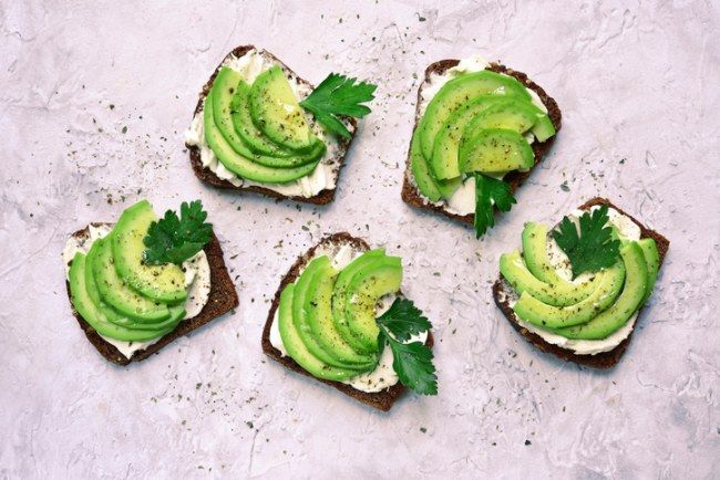 quark and avocado on rye bread