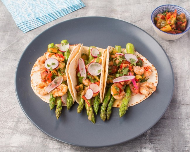 British asparagus and prawn tacos with a tomato salsa