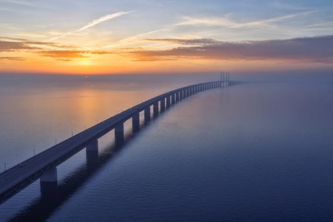 Sunset over the Oresundsbron Oresund Bridge