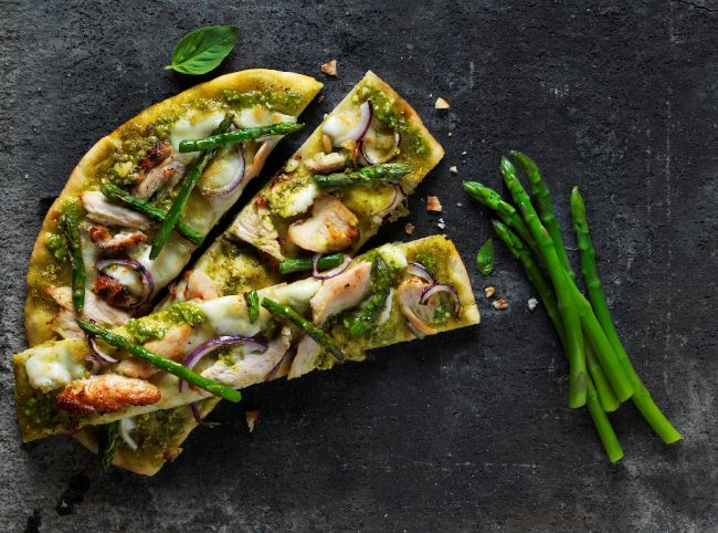 Baked pesto chicken and asparagus flatbread