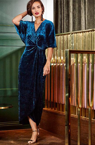 Joanna Hope Cross front teal velvet maxi dress