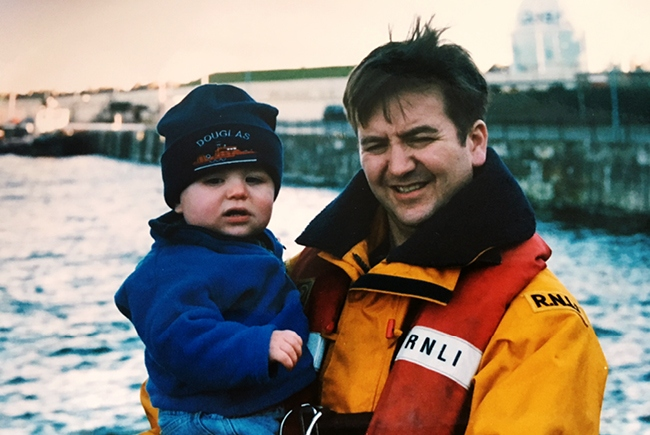 RNLI, Peter Cowin with his son Philip as a baby