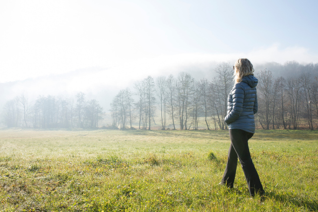 walking older woman